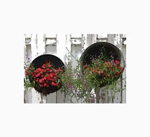 Two Tub Planters Displayed On Fence - Digital Artwork Unisex T-Shirt