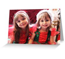 Little Girls Waiting For Santa Greeting Card