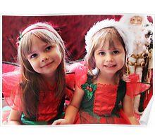 Little Girls Waiting For Santa Poster