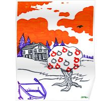 Psychedelic Apple Tree Landscape Poster