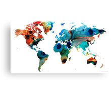 Map of The World 6 -Colorful Abstract Art Canvas Print