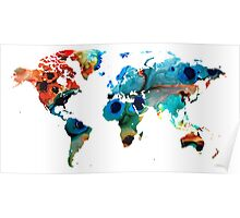 Map of The World 6 -Colorful Abstract Art Poster