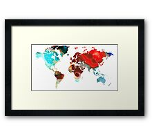 Map of The World 5 -Colorful Abstract Art Framed Print