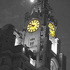 Liver Building Liverpool Monochrome and colour by Paul Madden