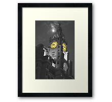 Liver Building Liverpool Monochrome and colour Framed Print