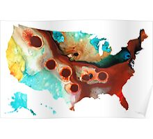 United States of America Map 6 - Colorful USA Poster