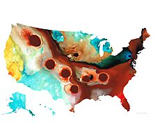 United States of America Map 6 - Colorful USA Photographic Print