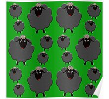 A whole flock of black sheep on green Poster