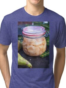 Jar full of canned, prepared and conserved pears Tri-blend T-Shirt