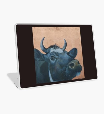 """""""The Grass Is Always Greener..."""" Cow Gazing Over Fence Laptop Skin"""