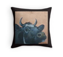 """""""The Grass Is Always Greener..."""" Cow Gazing Over Fence Throw Pillow"""
