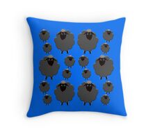 A whole flock of Black Sheep Throw Pillow