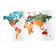 Map of The World 7 -Colorful Abstract Art Poster