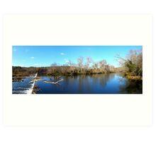 Haw river dam and waterfalls Art Print