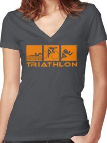 Triathlon modern icons Women's Fitted V-Neck T-Shirt
