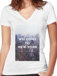 WELCOME TO NY Women's Fitted V-Neck T-Shirt