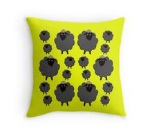 A whole herd of Black Sheep Throw Pillow