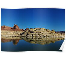 Red and white rock reflection in Colorado River, Utah Poster