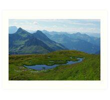 Mountain pond with a view near Furkajoch, Austria Art Print