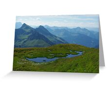 Mountain pond with a view near Furkajoch, Austria Greeting Card