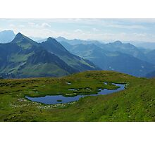 Mountain pond with a view near Furkajoch, Austria Photographic Print