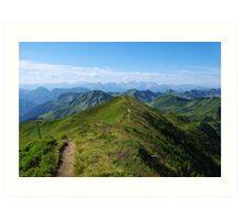 Mountain trail with a view near Damüls, Austria Art Print