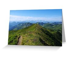 Mountain trail with a view near Damüls, Austria Greeting Card