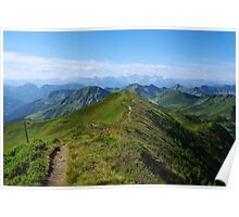 Mountain trail with a view near Damüls, Austria Poster