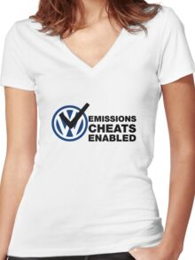 VW Emissions Cheat Enabled Women's Fitted V-Neck T-Shirt