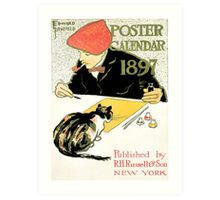 Edward Penfield 1897 calendar with artist and cat Art Print