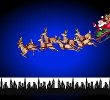 Merry Christmas happy holidays card with santa in sleigh by Cheryl Hall