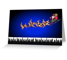Merry Christmas happy holidays card with santa in sleigh Greeting Card