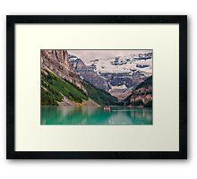 Lake Louise Canoe Framed Print