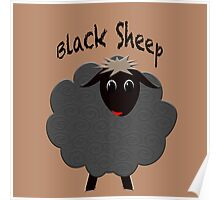 Cute black sheep on brown Poster
