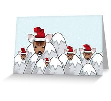 Merry Christmas happy holidays card with reindeer in santa hats Greeting Card