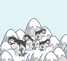 Merry Christmas happy holidays card with huskies in snow husky by Cheryl Hall