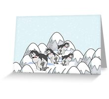 Merry Christmas happy holidays card with huskies in snow husky Greeting Card