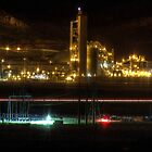 Cement Plant at Night by BikerChic