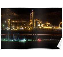 Cement Plant at Night Poster