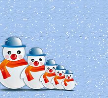 Merry Christmas happy holidays card with snowmen by Cheryl Hall