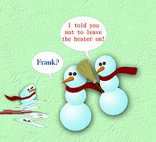 Merry Christmas happy holidays card with snowmen Christmas humor funny by Cheryl Hall
