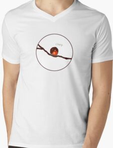 A little round robin on a tree branch Mens V-Neck T-Shirt
