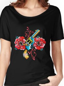 Gun and Roses Tattoo Flash Women's Relaxed Fit T-Shirt