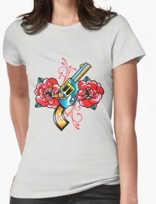 Gun and Roses Tattoo Flash Womens Fitted T-Shirt