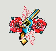 Gun and Roses Tattoo Flash Unisex T-Shirt