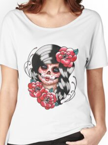 Day of the Dead Sugar Skull Girl Tattoo Flash Shirt Women's Relaxed Fit T-Shirt