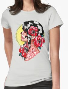 Dia De Los Muertos Sugar Skull Girl Tattoo Flash  Womens Fitted T-Shirt