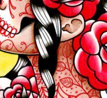 Dia De Los Muertos Sugar Skull Girl Tattoo Flash  Sticker