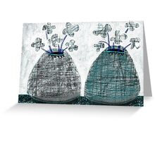 Twin Lined Mono Flower Vases - Beatrice Ajayi Greeting Card