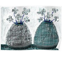 Twin Lined Mono Flower Vases - Beatrice Ajayi Poster